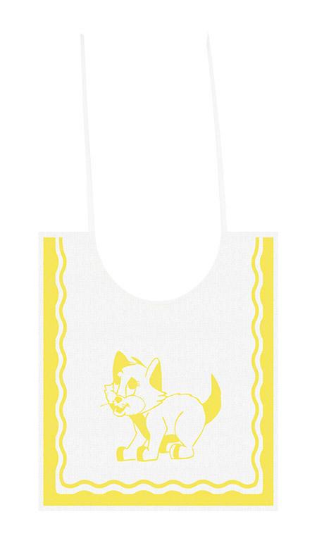 Lätzchen, 30 x 35cm, Katze gelb, Frottee 100% Baumwolle, 95°Wäsche, schontrocknen