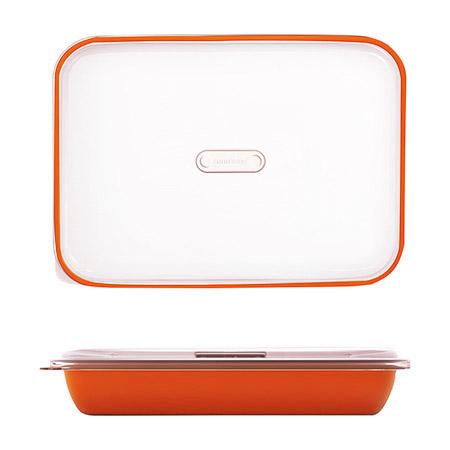 Frischhalte-/Servierbox orange 3,2L, PP, Microban mit transparentem Deckel, 35,5 x 25 x H 7cm
