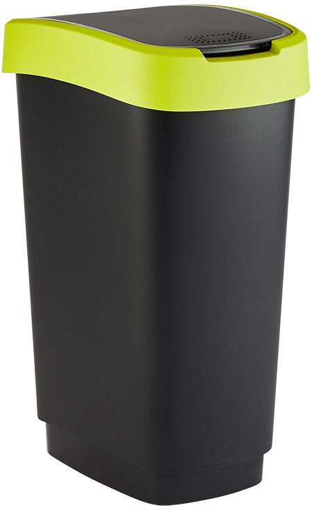 Schwingdeckeleimer Twist, 50L, schwarz/grün rotho, Kunststoff,