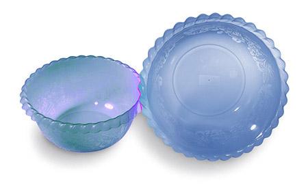 Salatschüssel blau, Murano Ø30cm, 5Ltr. Kunststoff PP mit Dekor und Wulstrand