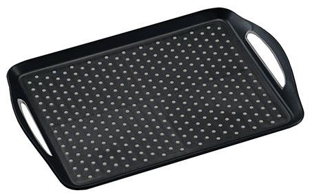 Tablett mit Anti-Rutsch Noppen, schwarz PP/TPE, 45,5x32x4,5cm, mit Griffen