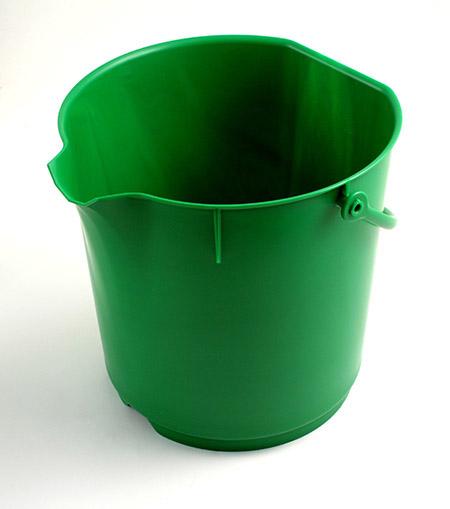 Lebensmitteleimer, extra stark, grün 15Ltr. Kunststoff PP, mit Liter-Skala, ohne Deckel