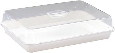 Frischhaltebox mit Deckel, weiß/klar SAN/PS, 365x247x85mm