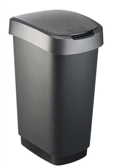 Schwingdeckeleimer Twist, 50L, schwarz/silber rotho, Kunststoff,