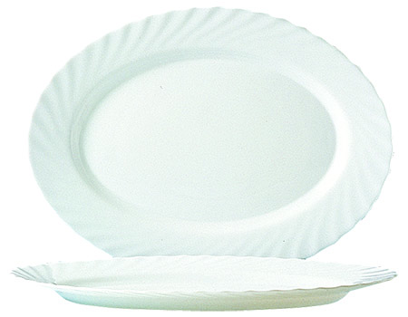 Platte oval 35x24cm, Trianon uni weiß