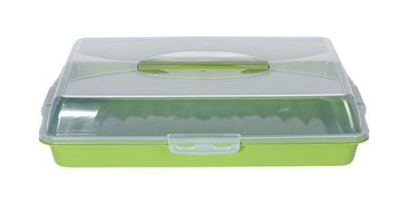 Transportbox, grün 48,5x34,5cm Unterteil farbig, Deckel transparent