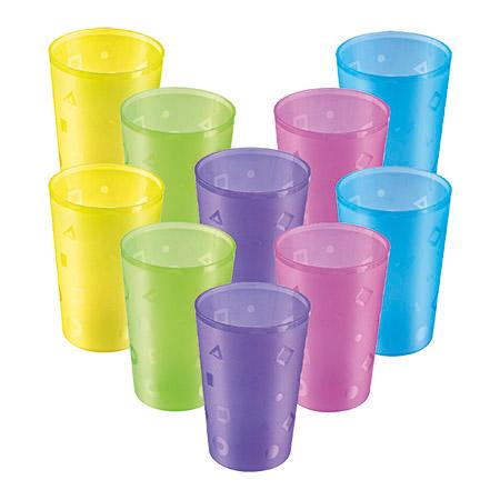 Trinkbecher 0,3L 10er-Pack, farbig gemischt Kunststoff PP, Ø7,3cm, Höhe 10,8cm