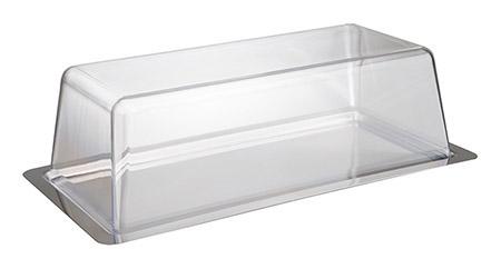 Tablett mit Kunststoffhaube, 34x16,5xH10cm, Edelstahlplatte mit Griffrändern