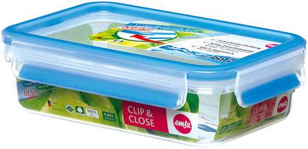 Frischhaltedose, 0,55L, Clip & Close, Kunststoff, rechteckig, transparent/blau