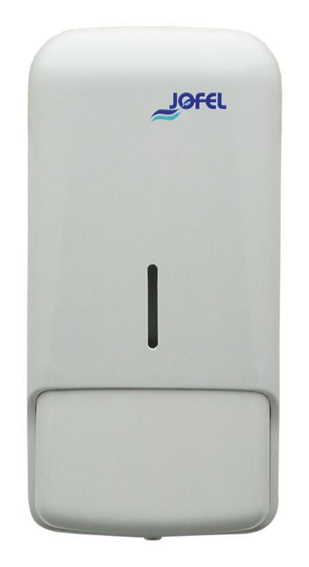 Seifenspender, Azur weiß, Kunststoff, mit großem Taster, Sichtschliz für 1 Ltr. Seife