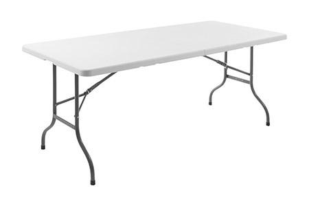 Klapptisch, faltbare Tischplatte Kunststoff PE Gestell pulverbeschichtetes Metall, mit Tragegriff
