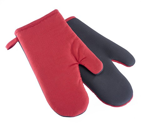 Ofenhandschuhe, rot/schwarz, 1 Paar