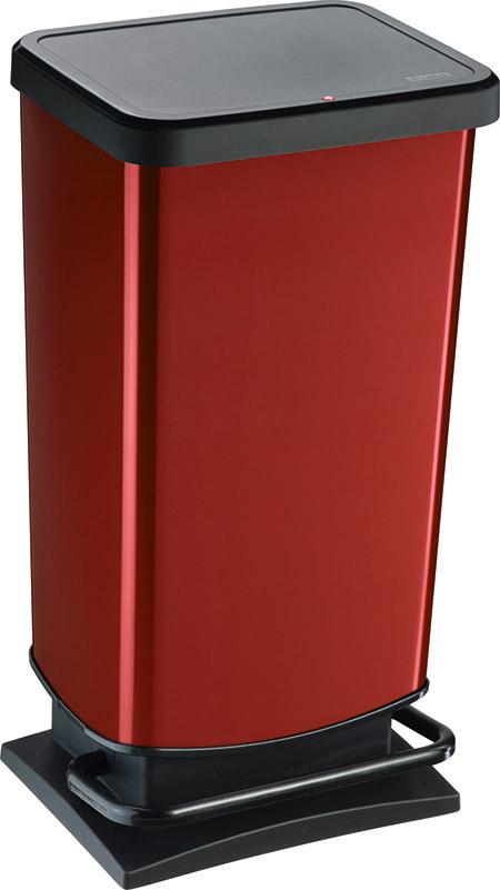 "Treteimer ""PASO"", 40Ltr., rot metallic L 35,3 x B 29,5 x H 67,6cm, Kunststoff,"