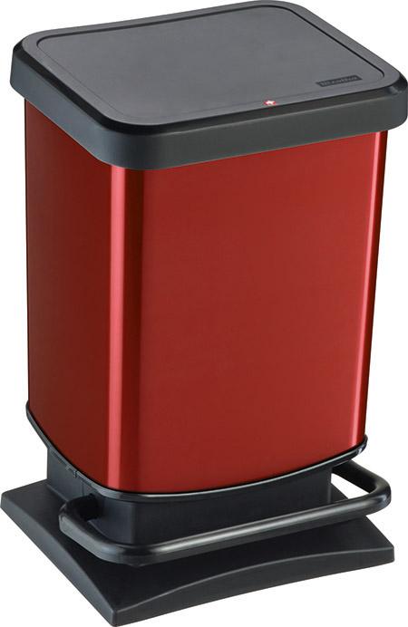 "Treteimer ""PASO"", 20Ltr., rot metallic L 29,3 x B 26,6 x H 45,7cm, Kunststoff,"