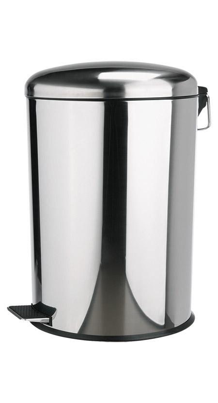 Edelstahl-Treteimer, 18/0, 12Ltr., mit Plastikeinsatz und Edelstahltritt