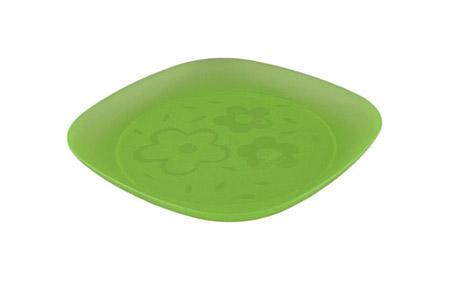 Party-Teller, 17x17cm, grün, mit Gravur Blume, Polypropylen