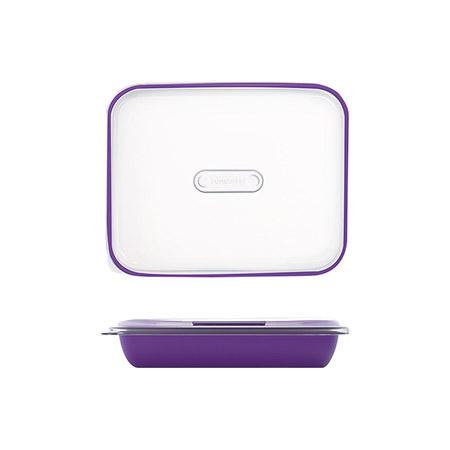 Frischhalte-/Servierbox violett 1,5L, PP, Microban mit transparentem Deckel, 25,5 x 21 x H 5,5cm