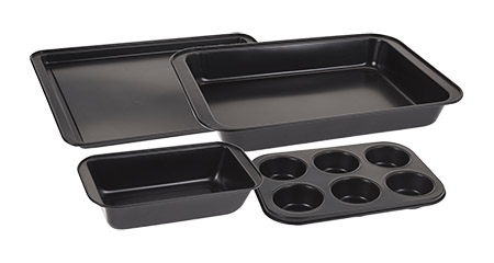 Backformen-Set, 4-teilig, schwarz mit Antihaft-Beschichtung