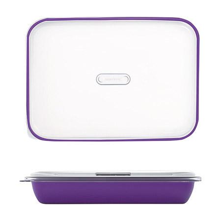 Frischhalte-/Servierbox violett 3,2L, PP, Microban mit transparentem Deckel, 35,5 x 25 x H 7cm