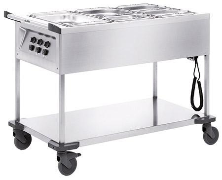 Speisenausgabewagen SAW 3, Edelstahl, Blanco beheizbar, 3 Einzelbecken für GN 1/1-200mm