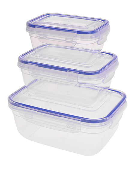 Vorratsdosen-Set klein 3tlg.0,4L, 0,8L, 1,4L luftdicht, Kunststoff PP transparent/blau