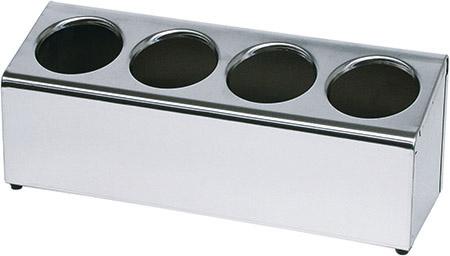 Besteckbehälter für 4 Besteckköcher 49,5x15cm, Chromnickelstahl, schwere Ausführung