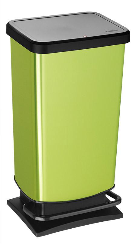 Treteimer PASO, 40Ltr., Lime metallic L 35,3 x B 29,5 x H 67,6cm, Kunststoff,