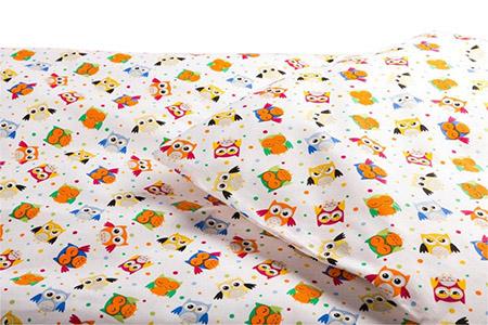 Kinderbettwäsche EULE 100% veredelte Baumwolle, 118g/m², mit Knopfleiste
