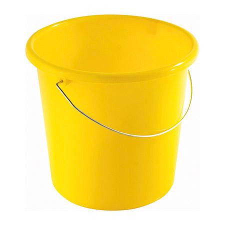 Haushaltseimer gelb, 10Ltr. mit Metallbügel Kunststoff PP