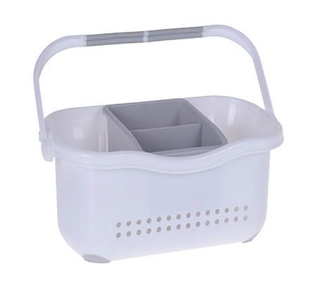 Besteck-/Tragekörbchen, weiß/grau, Kunststoff,