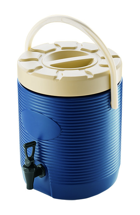 Thermo-Getränkebehälter, 12 Ltr., blau, außen Kunststoff, innen Edelstahl
