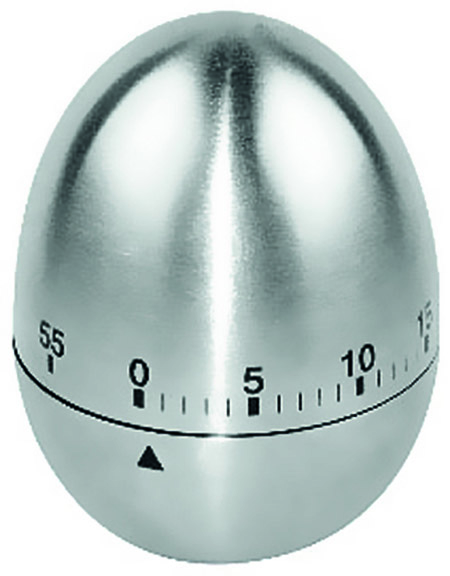 Kurzzeitmesser, Ei,  mechanisch, 60min, Edelstahl Ø6cm xH 8cm, im Karton