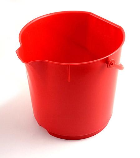 Lebensmitteleimer, extra stark, rot 15Ltr. Kunststoff PP, mit Liter-Skala, ohne Deckel