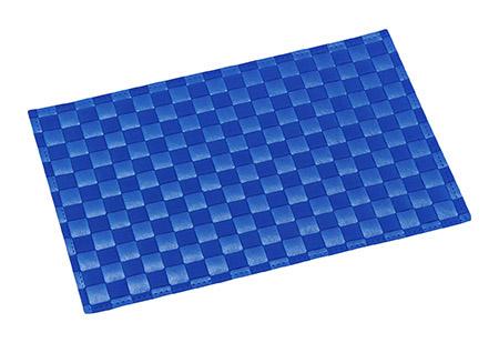 Platzmatte blau, breite Flechtung PP 43 x 30,5 x 0,1cm