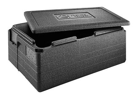 Box GASTROSTAR GN 1/1-200 mit Deckel, schwarz, Außenmaß: 60x40x28cm
