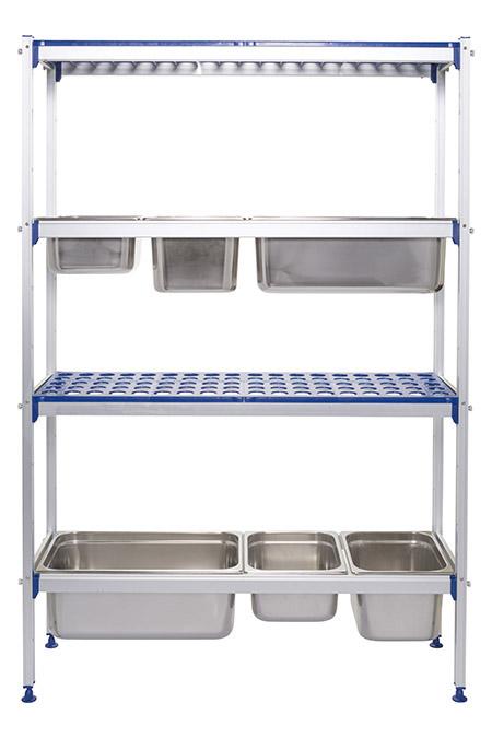 Aluminium-Regal, B1120 xT355 xH1685cm 4 Kunststoff-Böden, 150kg Tragkraft/Boden