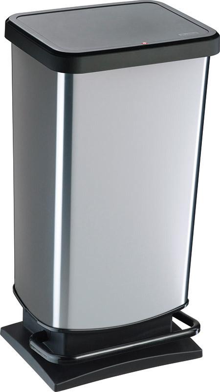 "Treteimer ""PASO"", 40Ltr., silber metallic L 35,3 x B 29,5 x H 67,6cm, Kunststoff,"