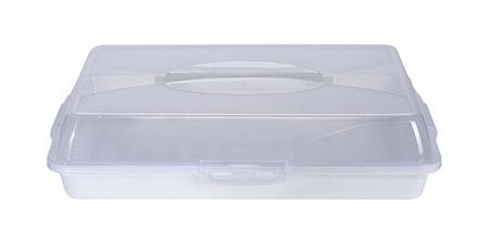Transportbox, weiß 48,5x34,5cm Unterteil farbig, Deckel transparent
