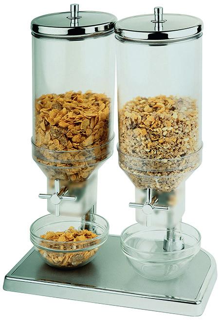 Cerealienspender-Duo, 2x4,5Ltr., 22x35x52cm Fuß Zinkdruckguss verchromt,