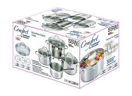 Topfset Comfort 4-teilig, Edelstahl rostfrei Sandwichboden, Induktionsfähig, Spezial-Glasdeckel