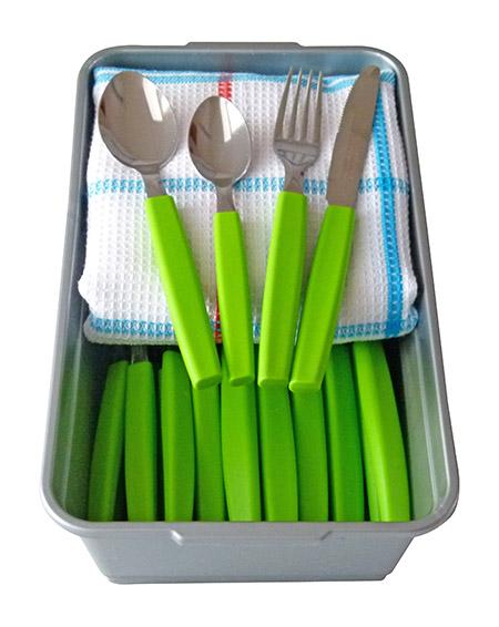 Dessertbesteck-Set 50-teilig MUNIQUE grün inkl. Miniwanne 25x15cm u. Waffelpikeetuch
