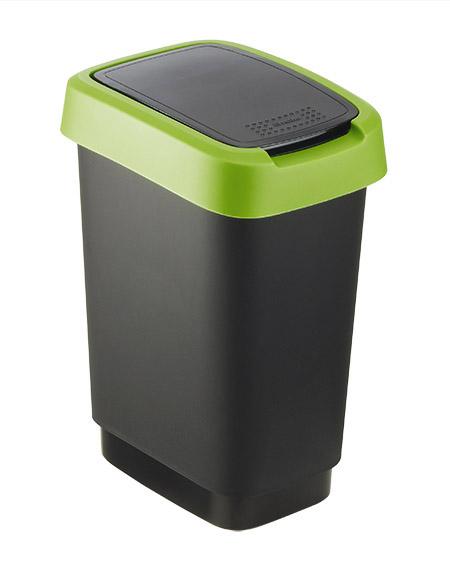 Schwingdeckeleimer Twist, 10L, schwarz/grün rotho, Kunststoff,