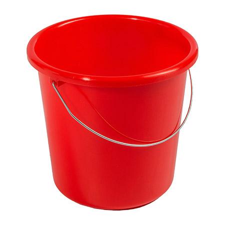 Haushaltseimer rot, 10Ltr. mit Metallbügel Kunststoff PP