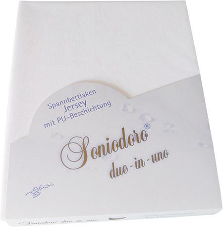 Spannbettlaken, Jersey, mit PU- Beschichtung Rundumgummi, weiß, 60 x 120cm