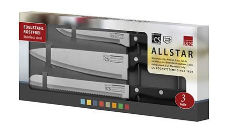 Messerset ALL-STAR, 3-teilig, schwarz Brot-, Koch- und Ausbeinmesser im Karton