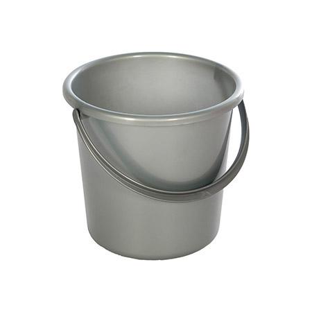 Eimer silber, 5 Liter, Kunststoff PP stabile Ausführung