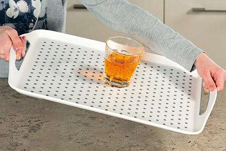 Tablett mit Anti-Rutsch Noppen, weiß PP/TPE, 45,5x32x2cm, mit Griffen