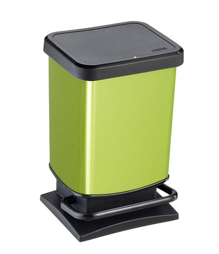 Treteimer PASO, 20Ltr., lime metallic L 29,3 x B 26,6 x H 45,7cm, Kunststoff,