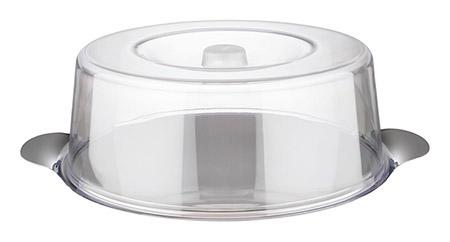 Tortenplatte mit Kunststoffhaube, Ø30xH11cm, Edelstahlplatte mit Griffen