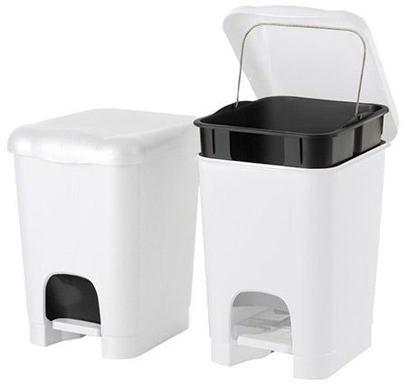 Treteimer EASY weiß, 20 Liter, Kunststoff PP schwarzer Inneneimer mit Metallbügel